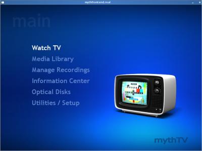 MythTV frontend menu